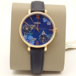 NEW FOSSIL Jacqueline Watch Navy Leather Band